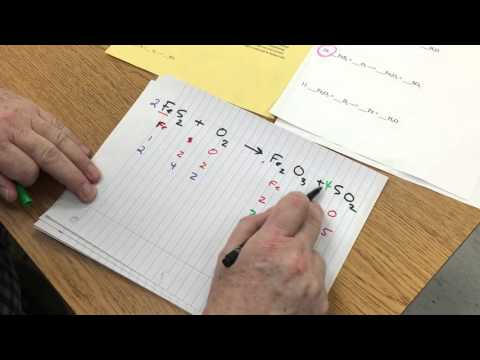 #10 Balancing Chemical Equations - Iron Sulfide and oxygen react