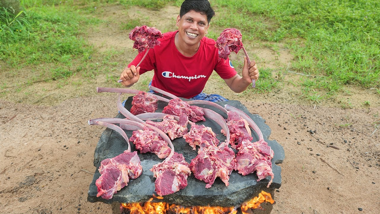 BEEF RIBEYE STEAK | കരിങ്കല്ലിൽ ചുട്ട ബീഫ് | Yummy And Delicious Tomahawk Ribeye Steak |Village food