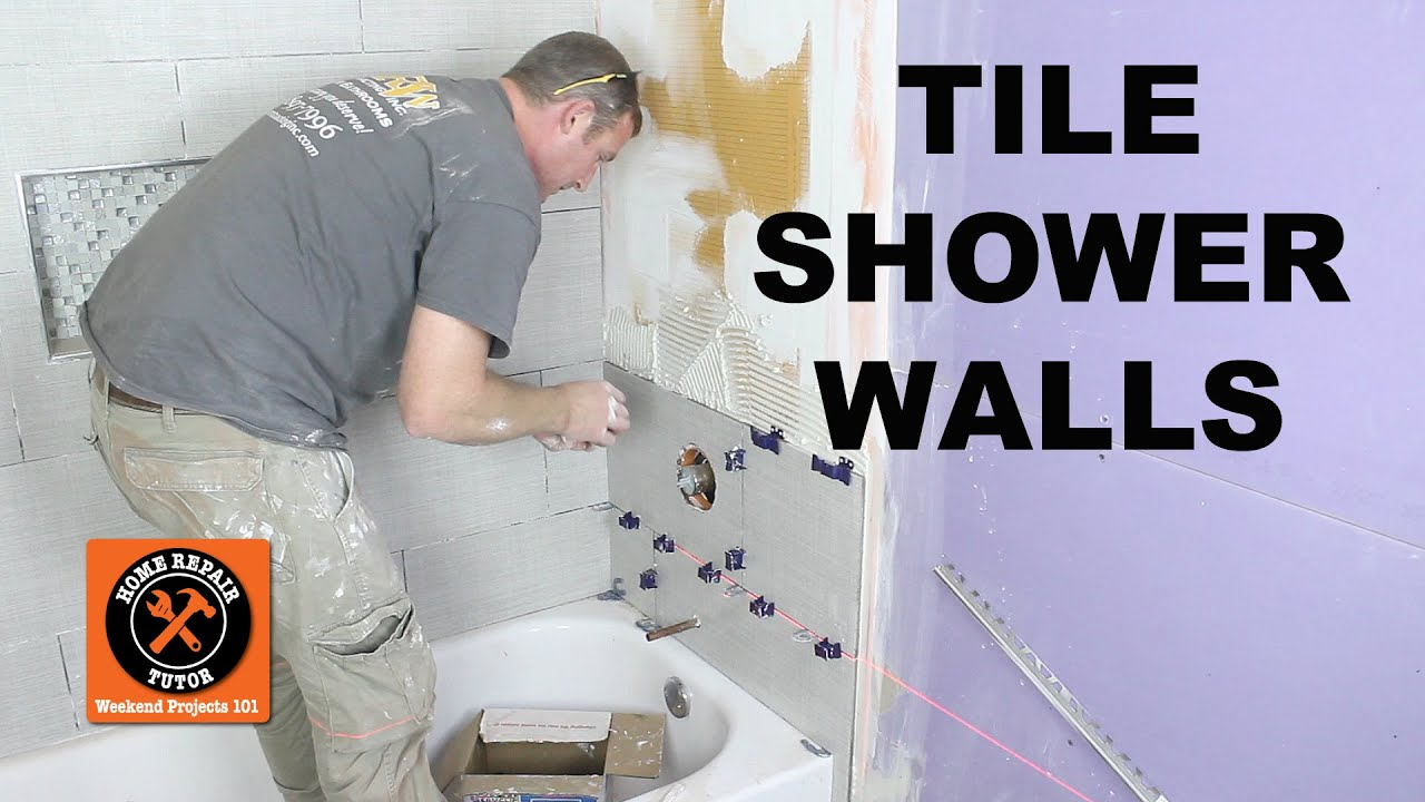 to tile a shower wall and cut tiles