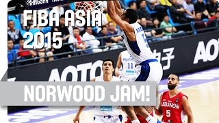 Blatche Feeds Norwood for a Huge Dunk! - 2015 FIBA Asia Championship