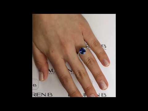 3.23 ct Cushion Cut Sapphire Engagement Ring