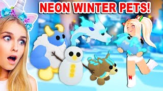 Making ALL The *NEW* WINTER PETS NEON In Adopt Me! (Roblox)