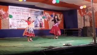 Aja nachle song dance by Saya & Gitu at jurgaon bohagi utsab2019
