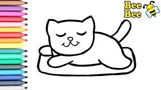 Раскраска для детей ЖИВОТНЫЕ - КОТИК. Рисуем Милого Котенка. Мультик - раскраска. УЧИМ ЦВЕТА