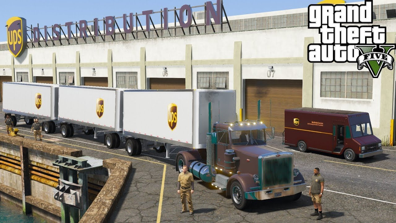 GTA 5 Real Life Mod #170 UPS Semi Truck Hauling Triple Trailers From The  Distribution Center