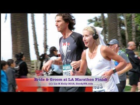 Bride And Groom at 2018 LA Marathon Finish Line