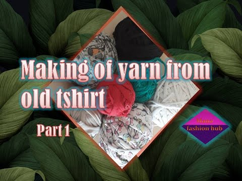how to | making yarn | from old tshirt for | door mats | telugu | reuse