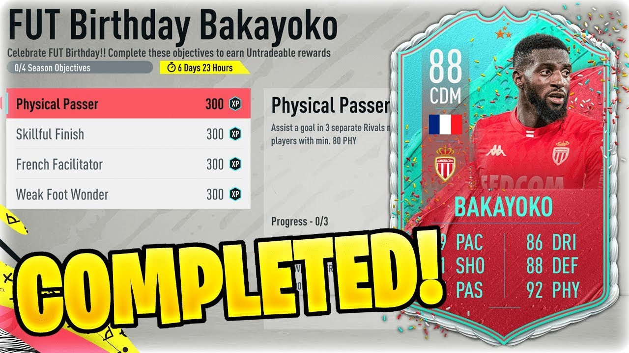 Fut Birthday How To Complete Sarr Sbc Bakayoko Cordoba Objectives Dexerto