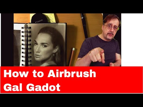 How to Airbrush The Portrait in India Ink of Gal Gadot 2018