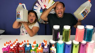 3 COLORS OF GLUE SLIME CHALLENGE CHALLENGE MYSTERY WHEEL OF SLIME EDITION WITH OUR DAD