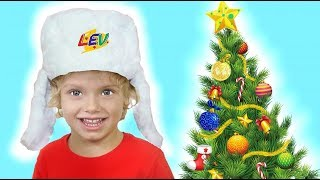 Our family Christmas tree!! Lev learns to decorate the Christmas tree, and Alice help him!