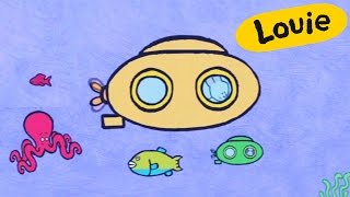 Sub-marine - Louie draw me a sub-marine | Learn to draw, cartoon for children