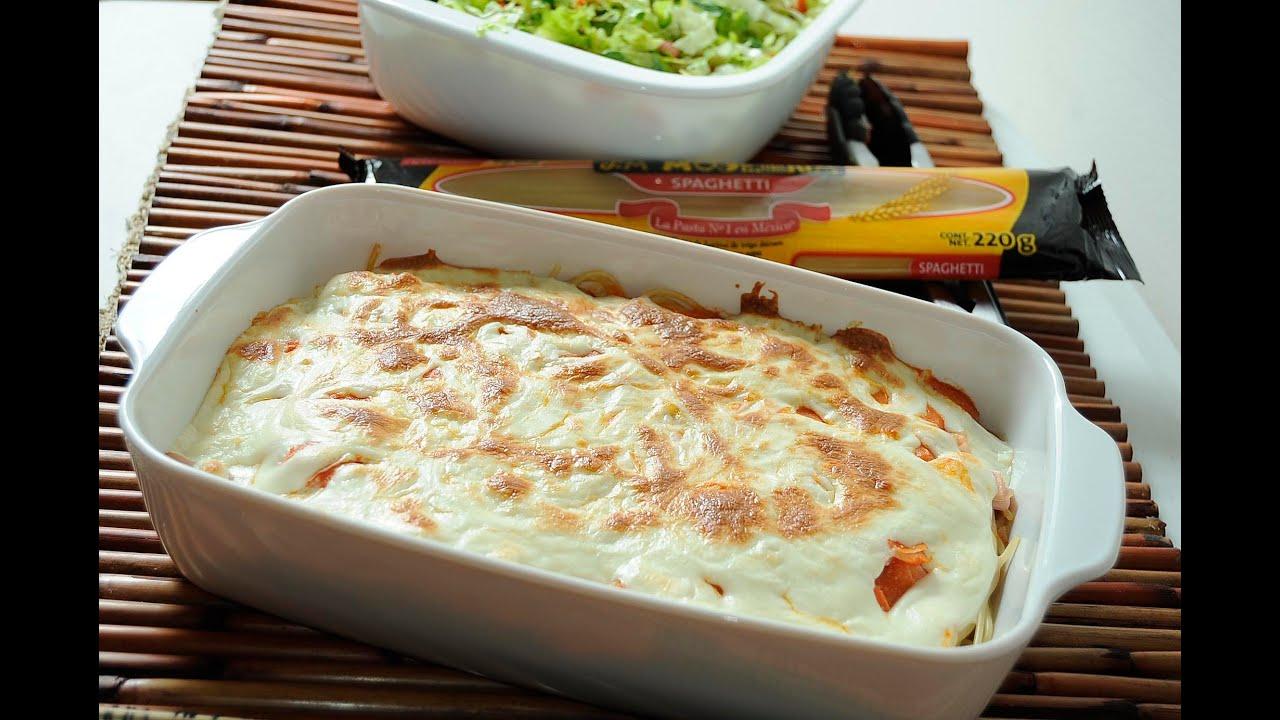 Spaghetti al horno con jamn y queso  Receta fcil y