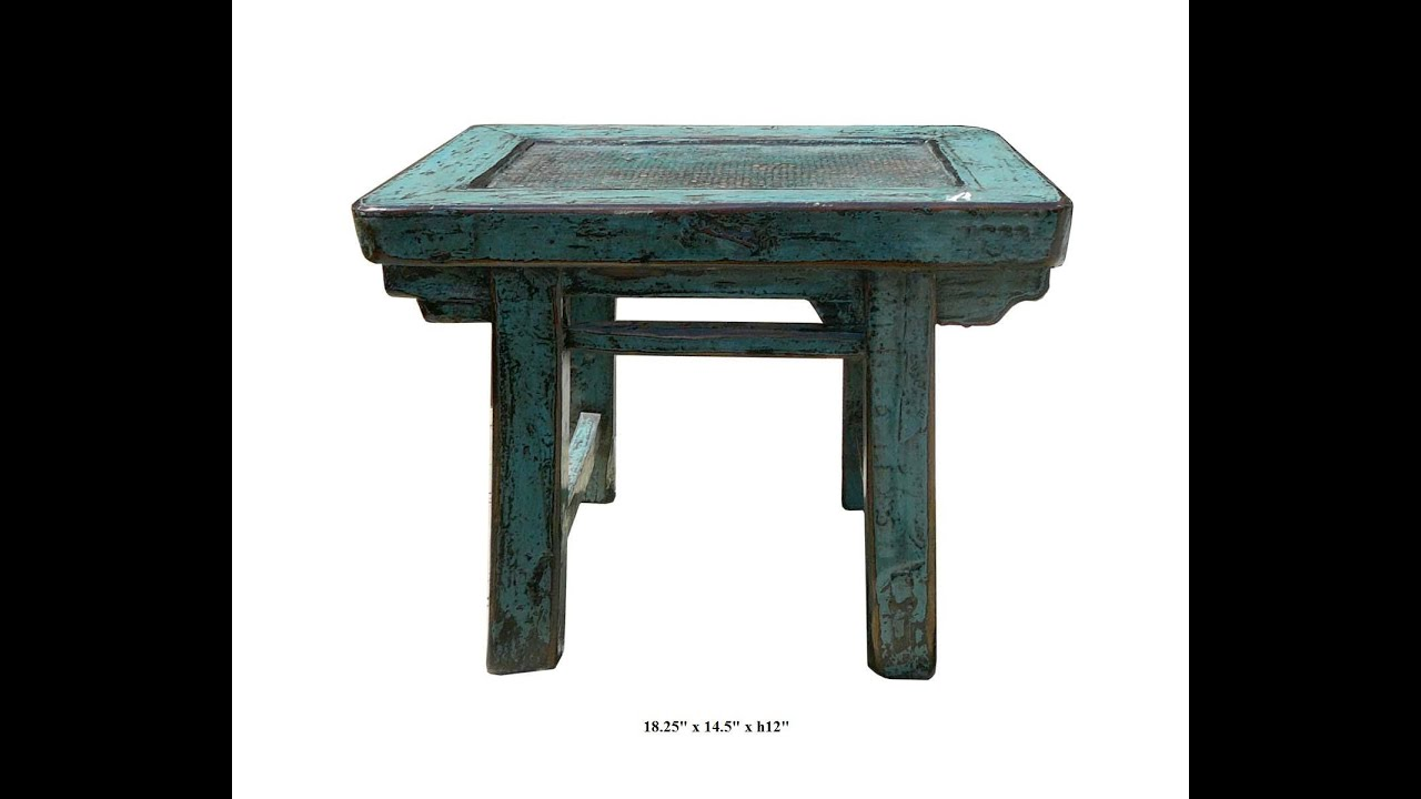 Rustic Turquoise Color Solid Wood Small Table Stand F958