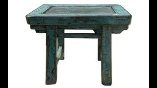 Rustic Turquoise Color Solid Wood Small Table / Stand F958