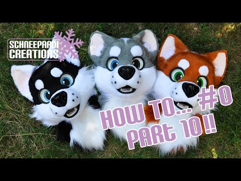 Building a toony husky fursuit head on a 3D mask #10 glueing the fur