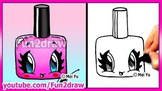 How to Draw Easy Cartoons - Nail Polish Tutorial Cute + Stylish Fun2draw Kawaii