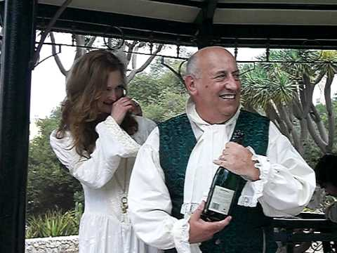 David and Myrea celebrate thir Marriage with Champagne.