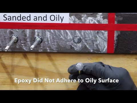 How much does rust and oil effect epoxy performance? Let's find out!