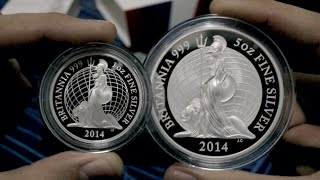 Royal Mint 2014 Proof Silver Britannia - 1oz and 5oz (unboxing)