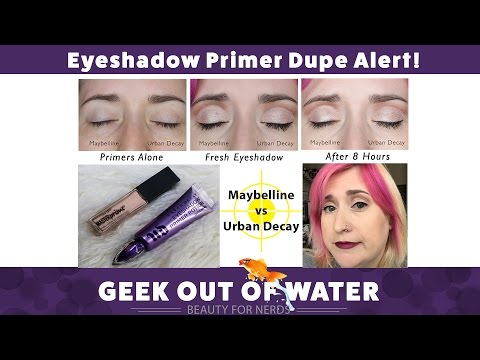 Eye Primer Dupe Alert! Maybelline vs Urban Decay on 40-ish Aging Eyes