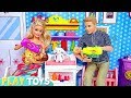 Barbie Girl and Ken Newborn Baby Doll Twins Feeding in Cute Dollhouse Nursery!