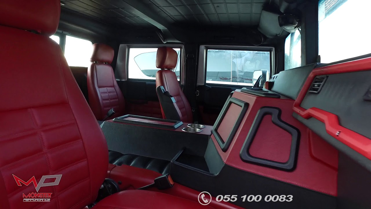 Jeep Wrangler Lifted >> Hummer H1 Interior Custom Design by Monster Performance - YouTube
