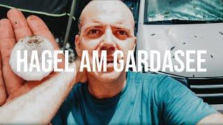 Camping am Gardasee mit Unwetter 😱 Unser 3 Wochen junger Bulli mit fettem Hagelschaden!