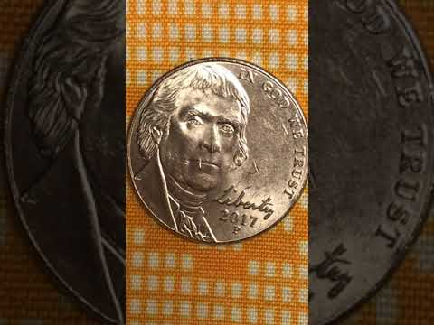 Jefferson 2017 Nickel Beautiful Monticello Five Cent Coin With Lips Cut Errors