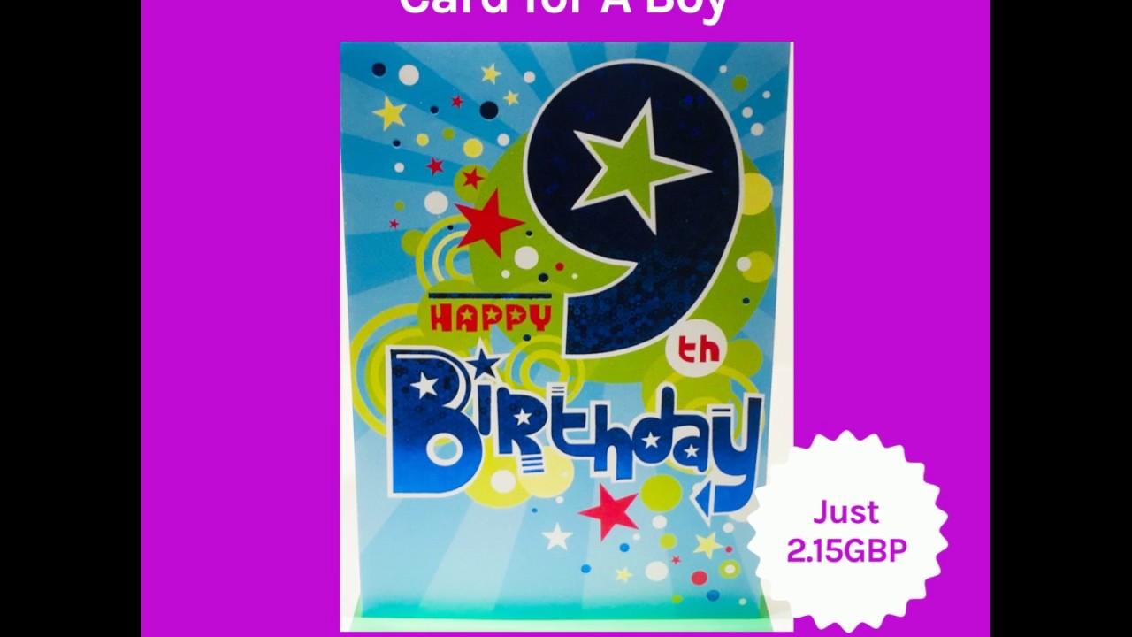 Happy 9th Birthday Card For A Boy