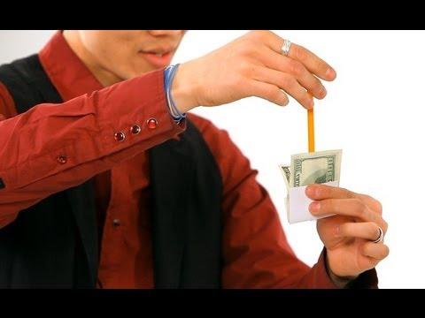 How to Do the Pencil thru Dollar Trick   Magic Tricks