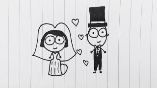 CARTOON CHARACTER DRAWING , Bride and Groom | Vincent Teh