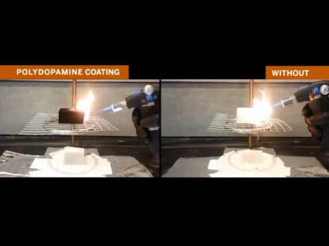 Polydopamine Flame Retardant Demonstration