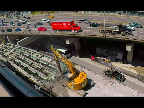 Demolition of Gardiner Expressway Off-ramp in TORONTO Downtown - May 9 2017 VLog