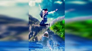 Picsart movie poster SHARK ATTACK editing Easy movie poster manipulation MOVI POSTER IN PICSART
