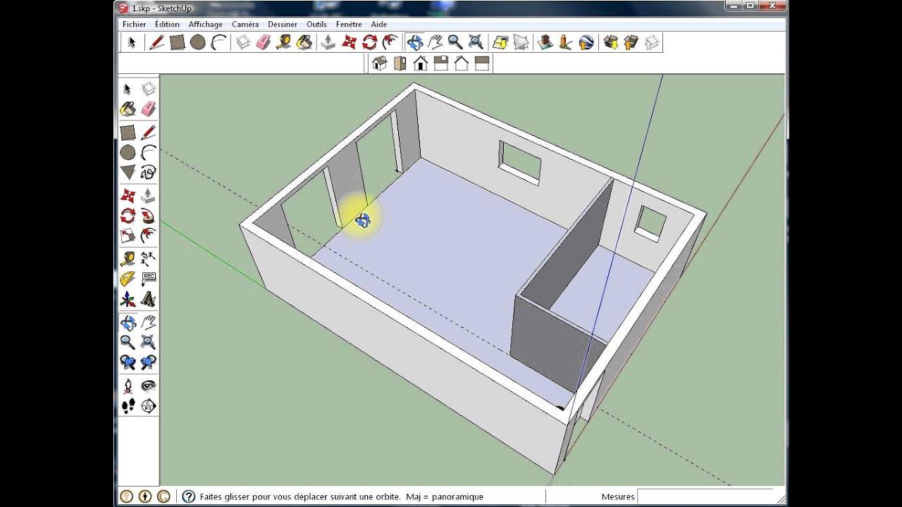 Sketchup 3   Cloison Intérieure Et Porte   YouTube