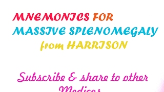 Diseases with Massive Splenomegaly Mnemonic from HARRISON'S,Mnemonic for NEET-PG/USMLE step 1