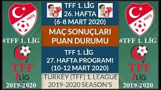 TFF 1 LİG 26 HAFTA MAÇ SONUÇLARI PUAN DURUMU 27 HAFTA MAÇ PROGRAMI 19 20 TFF1 League Week 26