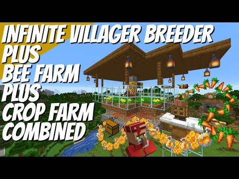 How To Make An Infinite Villager Breeder Plus Bee Farm & Carrot Farm ALL IN ONE  In Minecraft 1.15