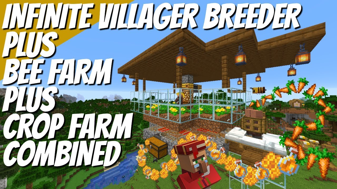 How to make an Infinite Villager Breeder plus Bee Farm & Carrot Farm ALL IN  ONE in Minecraft 9.95