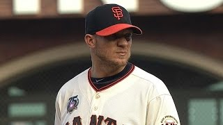 LAD@SF: Peavy strikes out five in Giants debut