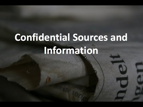 Week 14: Confidential Sources