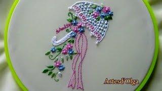Bordados à mão: Sombrinha decorada com buquê de flores