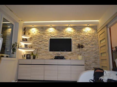 Sciana Telewizyjna W Kamieniu Ozdobnym Z Oswietleniem Ledowym Tv Wand