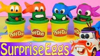 Play Doh Teenage Mutant Ninja Turtles Surprise Eggs Disney Cars Mater Toys Egg + Elmo