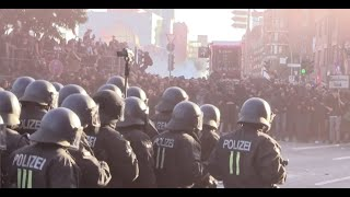 German riot cops fight the black bloc - 2017 - [Hamburg G20]