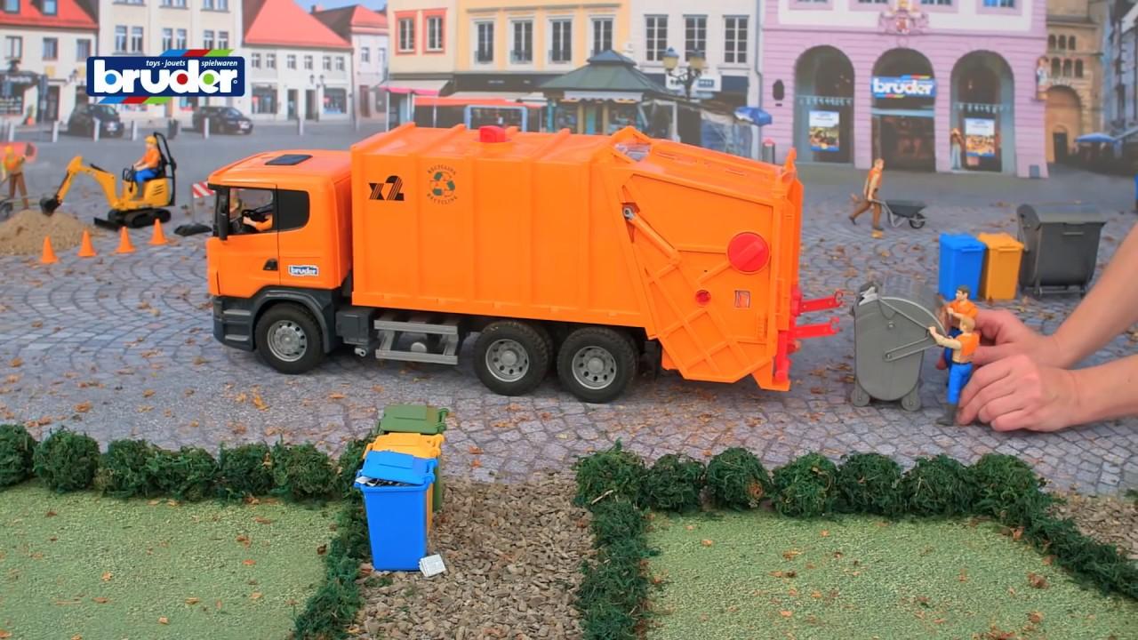 scania müllabfuhr -- 03560 -- bruder spielwaren - youtube