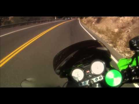Hooligan Thrashing the ZRX1200-R- Knee dragging, peg grinding in the mountains