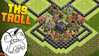 Clash of Clans | New TH9 Troll Base | The Wall | + Noob Attacking Fails [2016]