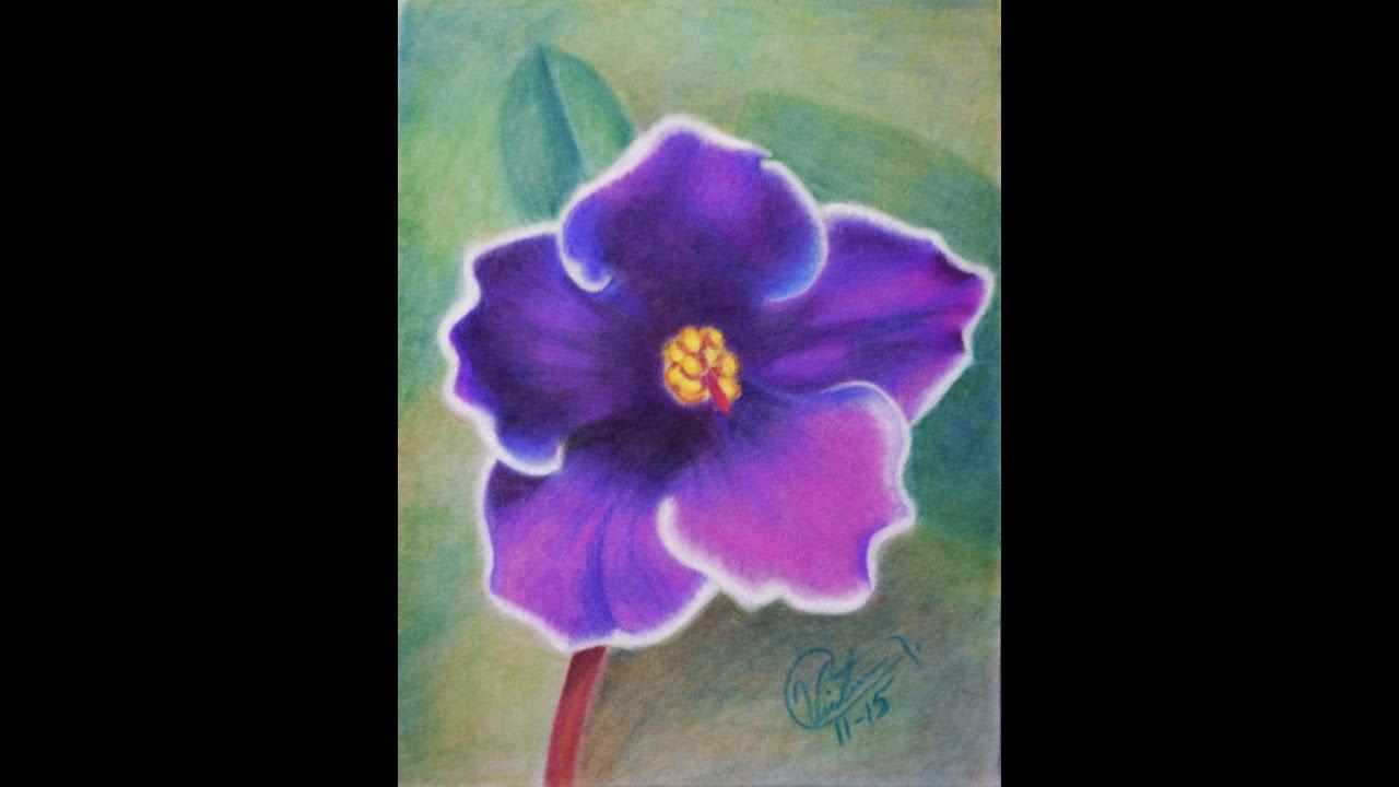 Como Dibujar Una Flor Con Lapices Pastel Gises Pastel O Tiza Paste